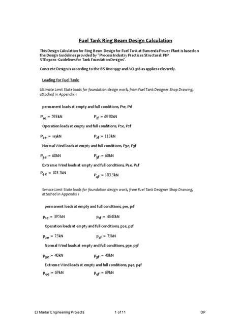 Fuel Tank Ring Beam Design Calculation   Beam (Structure