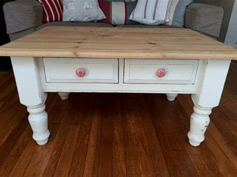 See more related results for. Small 2 Drawer Pine Refurbished Coffee Table (Annie Sloan Old White) | in Torquay, Devon | Gumtree