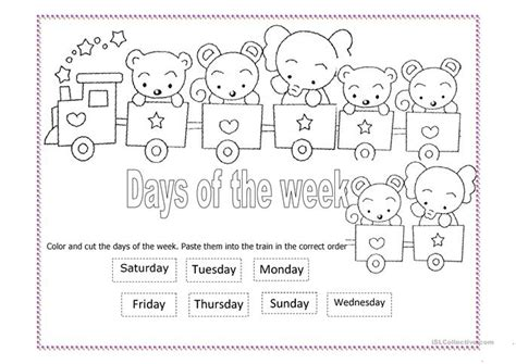 days   week train worksheet  esl printable