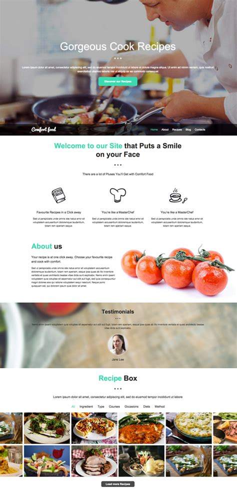site cuisine chef cook recipes website template