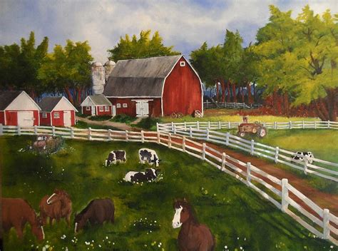 wall metal sculpture the farm painting by tim loughner