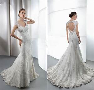 Bridal gown lace beaded appliques v neck backless crystals for Lace backless wedding dress