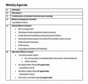 weekly agenda template 9 free download for pdf word With weekly meeting calendar template