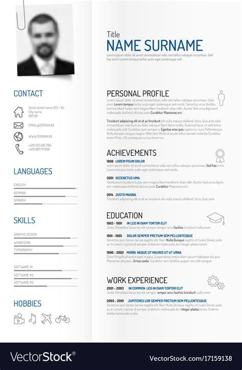 creative minimalist cv resume template royalty  vector