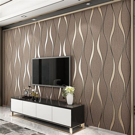 striped wallpaper  walls roll living room tv