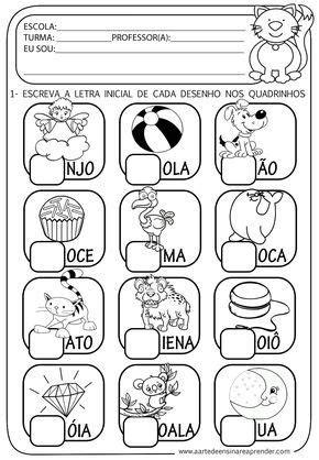 a arte de ensinar e aprender atividade pronta alfabeto letra inicial alfabetiza 231 227 o
