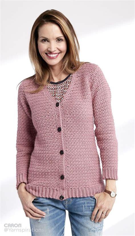crochet cardigan pattern adult crochet v neck cardigan patterns yarnspirations xs to 4 5 xl 4 10 ball caron simply