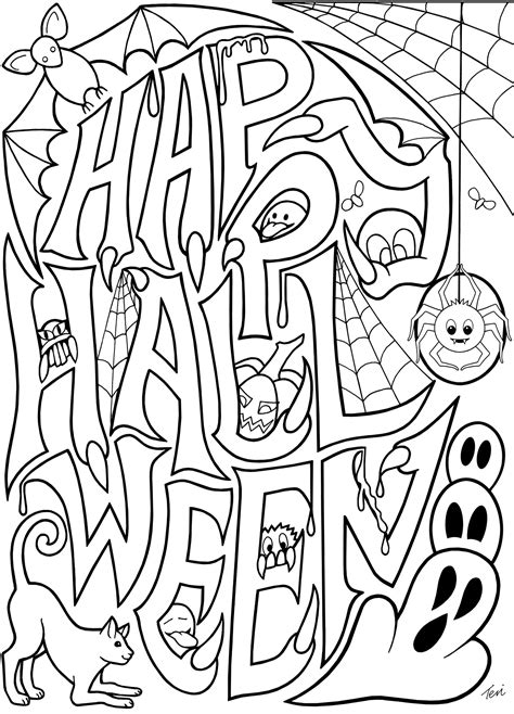 adult coloring book pages happy halloween  blue