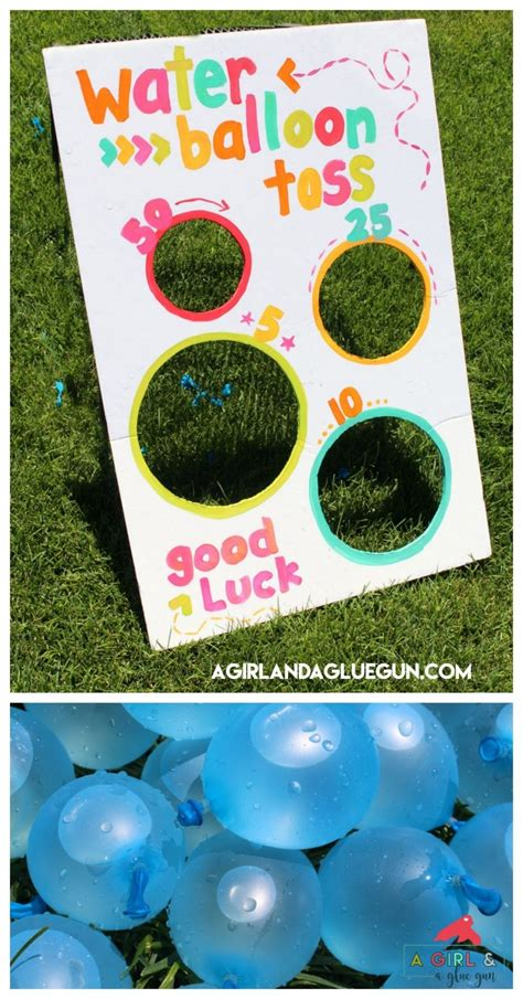 water balloon toss fun summer game  girl   glue gun