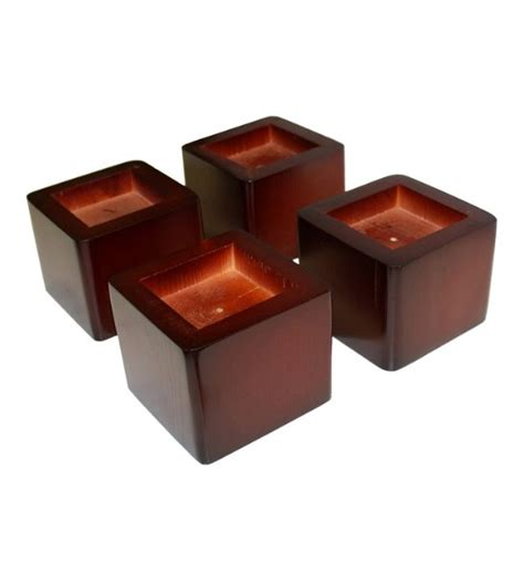Wide Bed Risers by Stacking Wood Bed Risers Mahogany In Bed Risers
