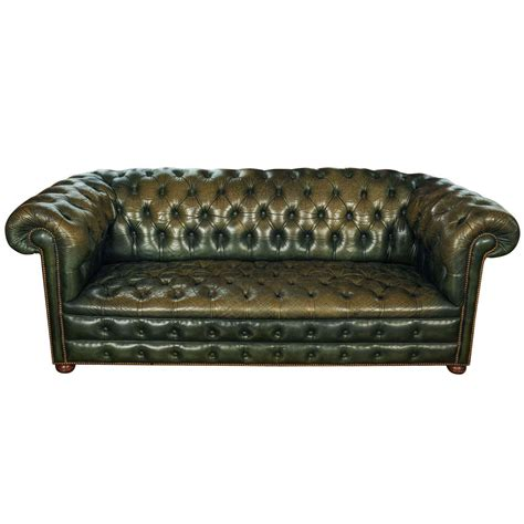 vintage chesterfield leather sofa vintage green leather chesterfield sofa at 1stdibs