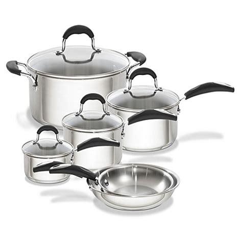 oneida  piece stainless steel cookware set bed bath