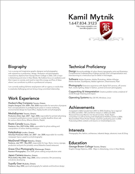 graphic designer resume best template collection