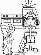 Coloring Firefighter Cartoon Pages Female Popular sketch template