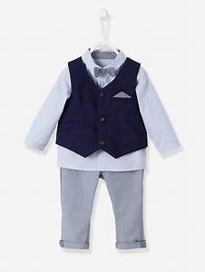 Vetement Ceremonie Garcon Zara : ensemble b b gar on c r monie gilet chemise noeud papillon pantalon bleu royal raye ~ Melissatoandfro.com Idées de Décoration