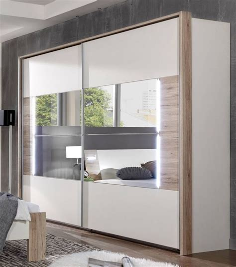 Mirrored Wardrobe by German Downtown White Oak 270cm Sliding Door Mirrored
