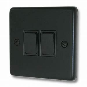 Matt Black Light Switch  2 Gang  Black Switch