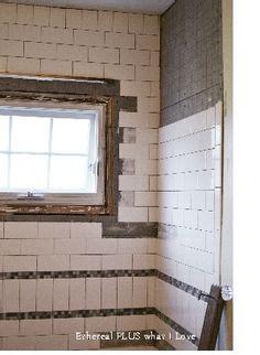 tub surround  installed  porcelain tile   brick pattern   glass tile insert    work pinterest tub surround brick
