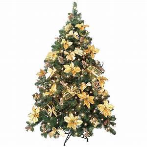 Künstlicher Weihnachtsbaum Geschmückt : pflanzen weihnachtsbaum goldig geschm ckt inkl lichterkette ~ Michelbontemps.com Haus und Dekorationen