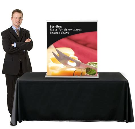 sterling table top retractable banner stand power