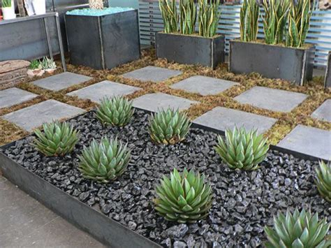 Modern Plant Bed, Black River Rock, & Succulents Modern