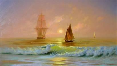 Painting Ship Boat Sea Waves Ocean Sailing