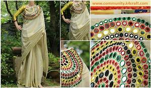 How to Make Mirror Work Designer Kerala Saree - Craft