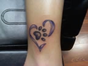 Dog Paw Print Heart Tattoo