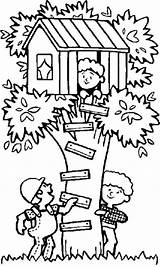 Coloring Treehouse Tree Seek Playing Hide Pages Houses Boomhutten Drawing Trees Fun Kleurplaten Children Chavez Cesar Colouring Printable Kleurplaat Van sketch template