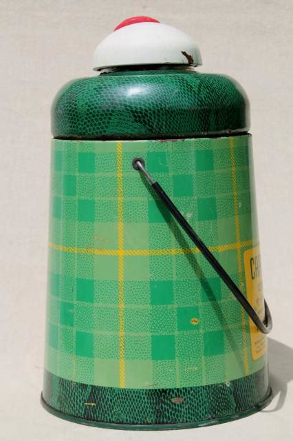 50s Vintage Cape Cod Cooler, Green Plaid Insulated Thermos