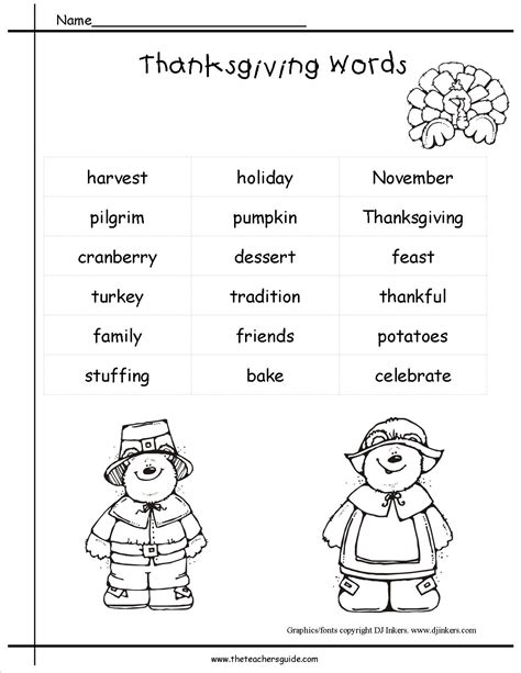 Printable Vocabulary For Thanksgiving  Happy Easter