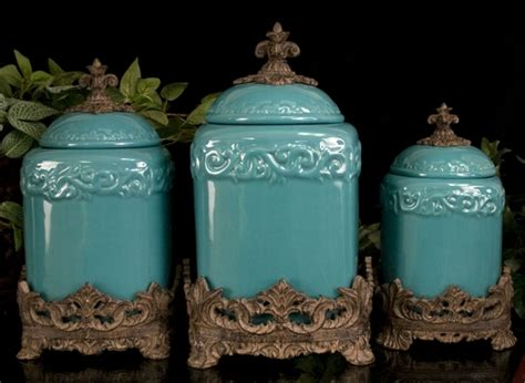 turquoise canisters kitchen turquoise large ceramic canister set