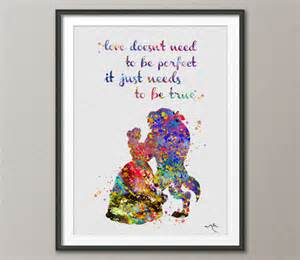 disney wedding gifts and the beast quote disney princess watercolor nursery wedding gift idea