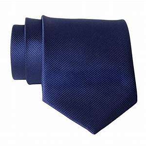 QBSM New Polyester Textile Mens Neckties Navy Blue Solid ...