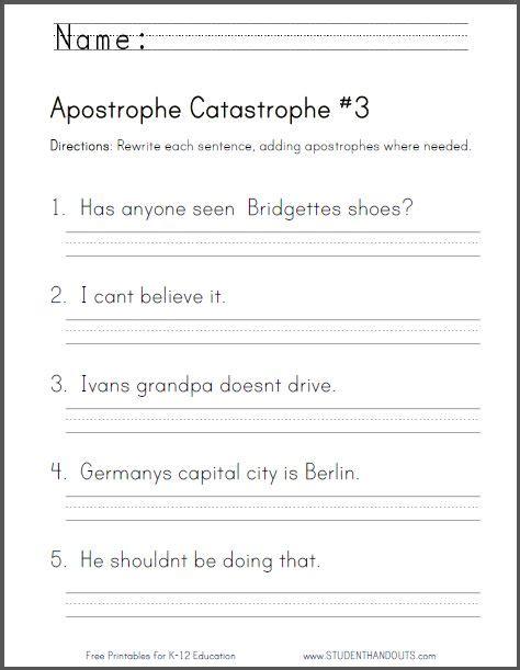apostrophe catastrophe worksheet  ccss lc