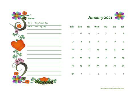 monthly word calendar design template