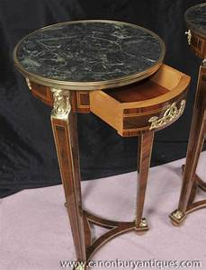 Pair, Tall, Empire, Pedestal, Tables, Stands, Side, Table