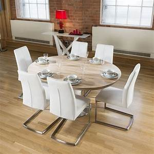 modern dining set round oval extending table 6 high white With round dining room table sets for 6