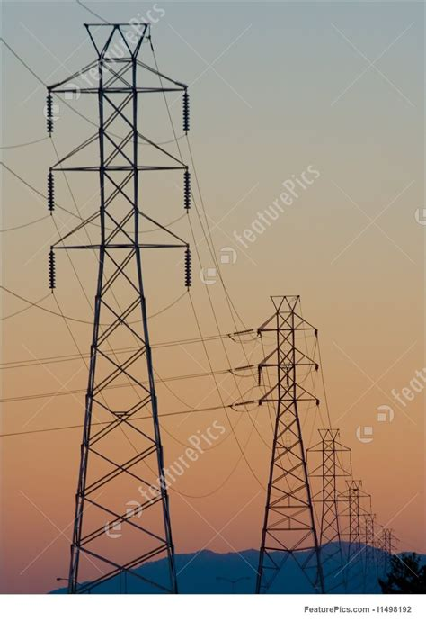 electrical towers  scenery sunset stock picture