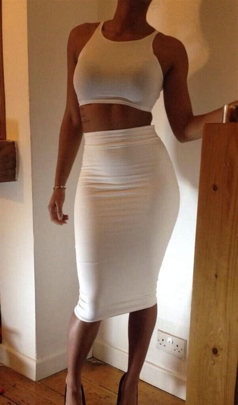 Amazon.com Womens White Sleeveless Cropped Top High Waisted Bodycon 2 Pieces Midi Dress Clothing
