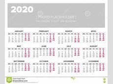 Calendar 2020 Year Vector Design Template Stock Vector