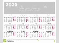 Calendar 2020 Year Vector Design Template Stock Vector