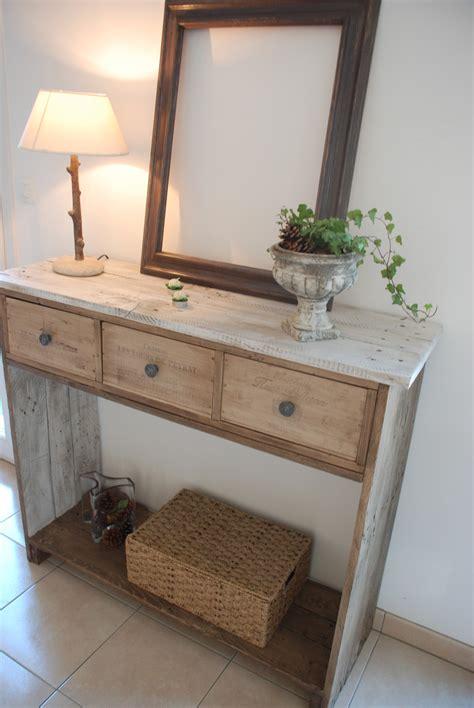 console en bois de palette style shabby chic meubles