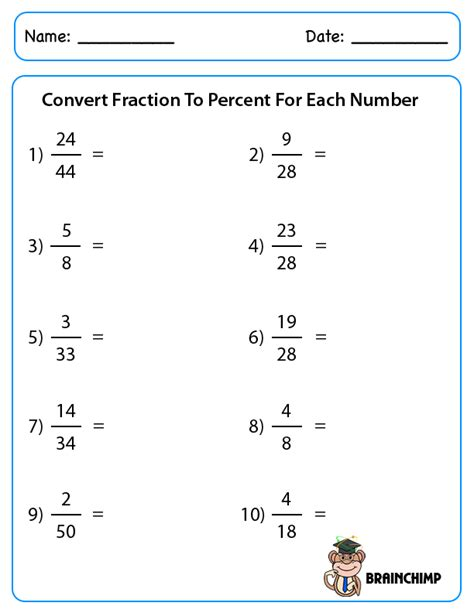 fraction to percent worksheet fractions