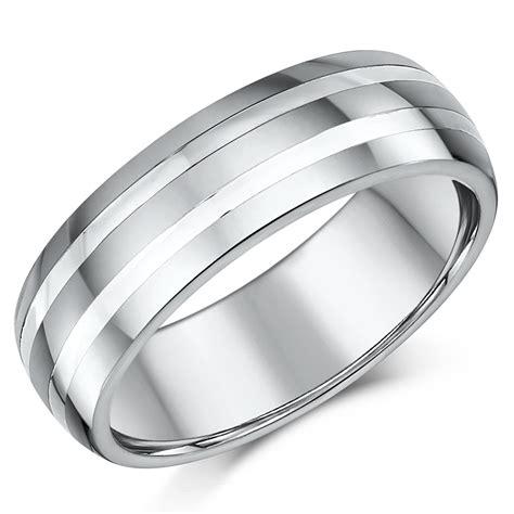 mm mens tungsten  silver striped wedding ring band
