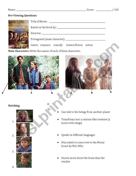 english worksheets quot a wrinkle in time quot movie worksheet