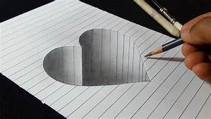 How To Draw Hole Heart Shape - 3d Art