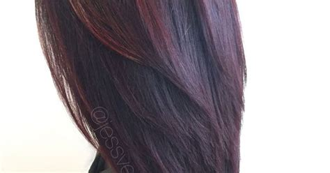 Red Violet Hair Color With Red Balayage Highlights On
