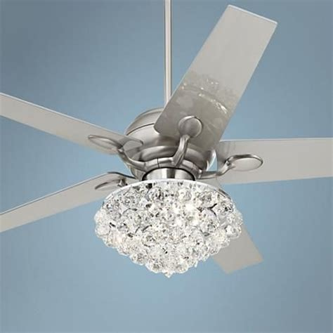 52 quot casa optima brushed steel crystal ceiling fan