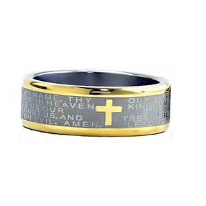mens wedding bands two tone 8mm two tones titanium christian cross bible scroll etch 39 s wedding band ebay